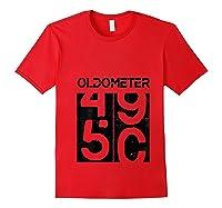Oldometer 50 Shirt Great 50th Anniversary Birthday Gift Tee T-shirt Red
