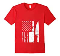 Chef Cooking American Flag Vintage Culinary Chefs Gifts T Shirt Red