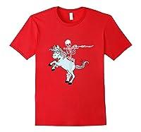 Skeleton Riding Zombie Unicorn Cute Halloween Tank Top Shirts Red