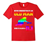 Never Underestimate An Old Man Who Is Also A Dj Gifts T Shirt Red