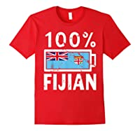 Fiji Flag T Shirt 100 Fijian Battery Power Tee Red