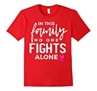 In This Family No One Fights Alone Breast Cancer Gift T Shirt Red