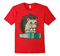 Cute Unique Bookworm Reading Hedgehog Gift Shirts Red