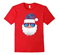 Cool Santa Emoticon In Sunglasses Christmas In July T Shirt Red