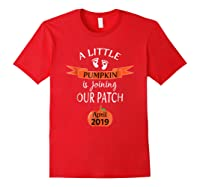 Halloween Pregnancy Announcet Tshirt Pumpkin April 2019 Red