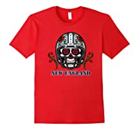 New England Football Helmet Sugar Skull Day Of The Dead Shirts Red