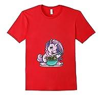 Kawaii Baby Unicorn Eating Ra Noodles Food Gift T-shirt Red
