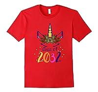 Unicorn Face Class Of 2032 First Day Kindergarten Girls Gift Shirts Red