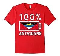 Antigua Barbuda Flag Shirt 100 Antiguans Battery Power Red