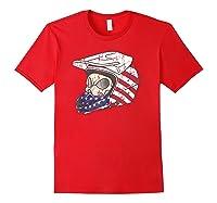 Usa Flag American Skull Helmet Patriotic Motorcyclist T Shirt Red