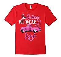 October Breast Cancer Awareness Month Pumpkin Vintage Truck T Shirt Red