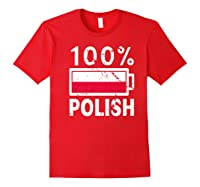 Poland Flag T Shirt 100 Polish Battery Power Tee Red