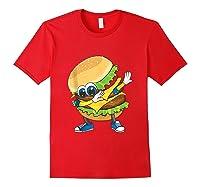 Cool Dabbing Burger Funny Street Dancer Hamburger Lover Gift Tank Top Shirts Red