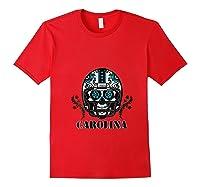 Carolina Football Helmet Sugar Skull Day Of The Dead T Shirt Red