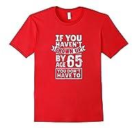 65th Birthday Saying - Hilarious Age 65 Grow Up Fun Gag Gift Shirts Red