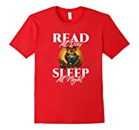 Sleep All Day Read All Night Bookish Read A Book Day Owl Premium T Shirt Red