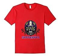 Minnesota Football Helmet Sugar Skull Day Of The Dead T Shirt Red