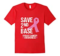 Save 2nd Base Breast Cancer Awareness Month Pink Ribbon Gift Tank Top Shirts Red