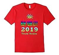 New York City Family Vacation 2019 Spiral Sun Rainbow T Shirt Red