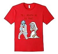 Zombie Bride Groom Hallowedding Halloween Wedding Costume Shirts Red