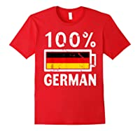 Germany Flag T Shirt 100 German Battery Power Tee Red