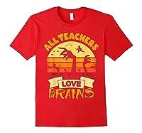 Tea Shirts Funny Halloween Gift All Teas Love Brains T-shirt Red