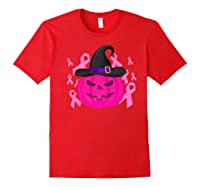 Pink Ribbon Pumpkin Halloween Breast Cancer Awareness Month Premium T Shirt Red