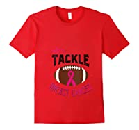 Breast Cancer Awareness Month Football Pink Ribbon T Shirt Red