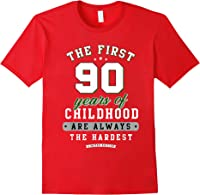 90th Birthday Funny Gift Life Begins At Age 90 Years Old T-shirt Red