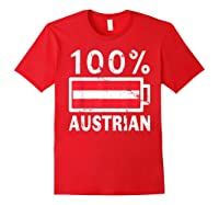 Austria Flag T Shirt 100 Austrian Battery Power Tee Red