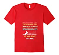 Bookworm Girl Cats Lover Reading And Pets Gift Out T Shirt Red