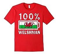 Wales Flag T Shirt 100 Welshman Battery Power Tee Red