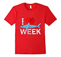 I Wait All Year For This Week T-shirt Funny Shark Tee Red