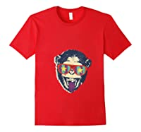 Crazy Monkey Chimp Funny And Vintage Music Love Shirts Red