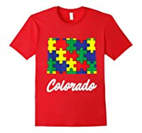 Autism Awareness Day Colorado Puzzle Pieces Gift Shirts Red