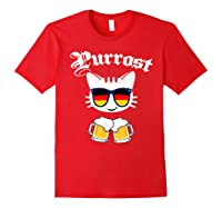 Oktoberfest Prost Purrost Funny Pun Purrost Cat Beer 2019 T-shirt Red