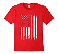 Stars Stripes Thin Pink Line Breast Cancer Awareness Month T Shirt Red