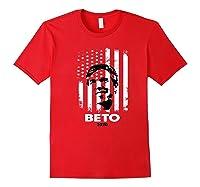 Beto O Rourke American Flag President Usa Distressed Gift Premium T Shirt Red