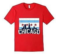 Chicago Flag Skyline Shirt Chi Town Pride City Flag Gift T Shirt Red