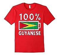 Guyana Flag T Shirt 100 Guyanese Battery Power Tee Red
