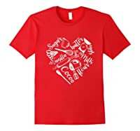 Baking Ingredients And Utensils Heart T Shirt Red