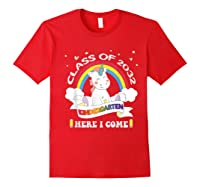 Studen Tshirt Class Of 2032 Grow With Me Unicorn Girl T-shirt Red