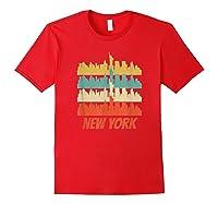 Retro New York City Skyline Pop Art Shirt Red