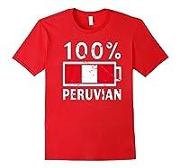 Peru Flag T Shirt 100 Peruvian Battery Power Tee Red