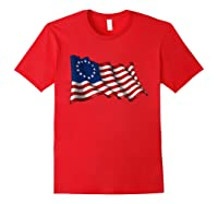America Betsy Ross Flag 1776 Vintage Distressed T Shirt Red