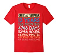 Nager Vintage 13 Years Birthday N Gifts Shirts Red