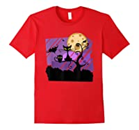 Dark Spooky Night Black Cat With Bats Halloween Shirts Red