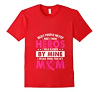 I Was Raised By Mine I Wear Pink For My Mom Breast Cancer T Shirt Red