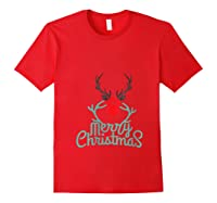 Merry Xmas Antlers Kettlebell Weightlifting Ness Workout Shirts Red