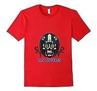 La Los Angeles Football Helmet Sugar Skull Day Of The Dead T Shirt Red